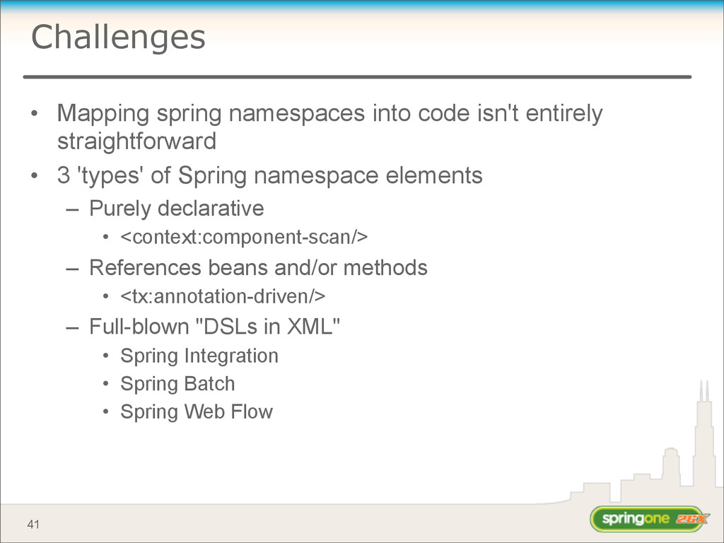 Challenges • Mapping spring namespaces into cod...
