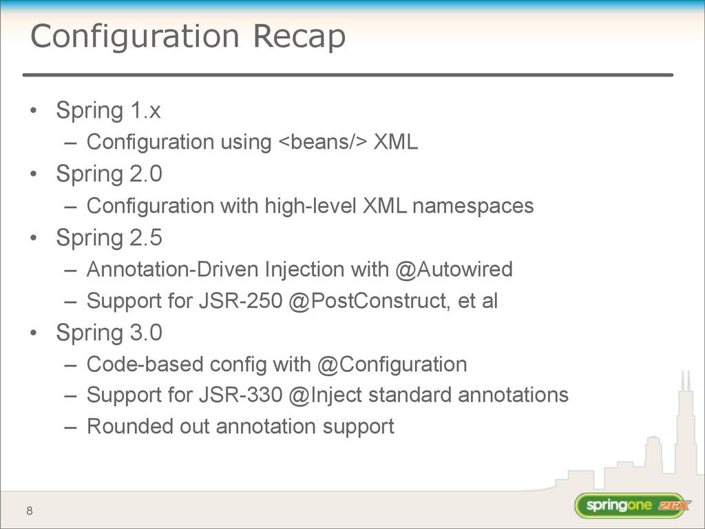 Configuration Recap • Spring 1.x – Configuratio...