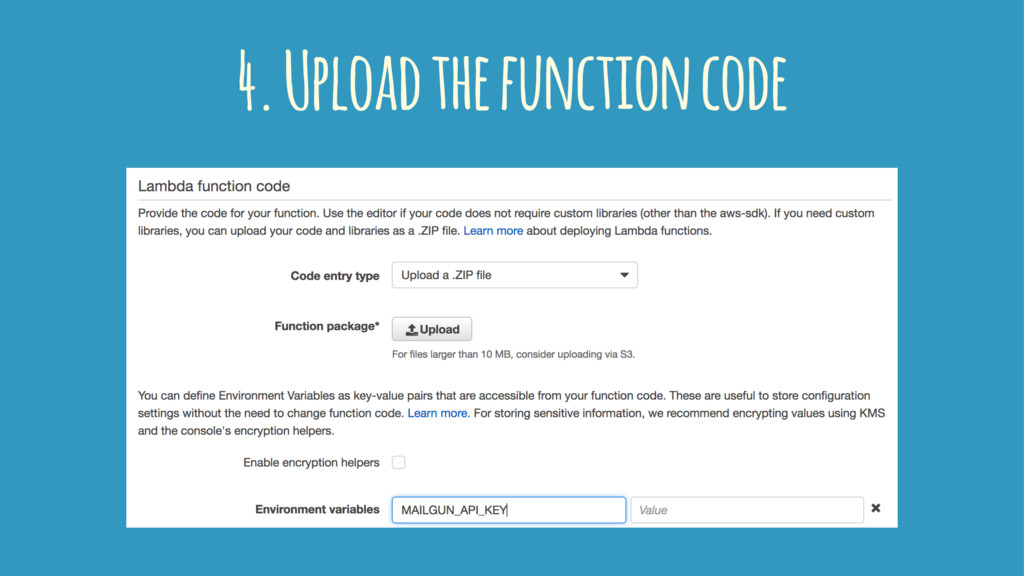 4. Upload the function code