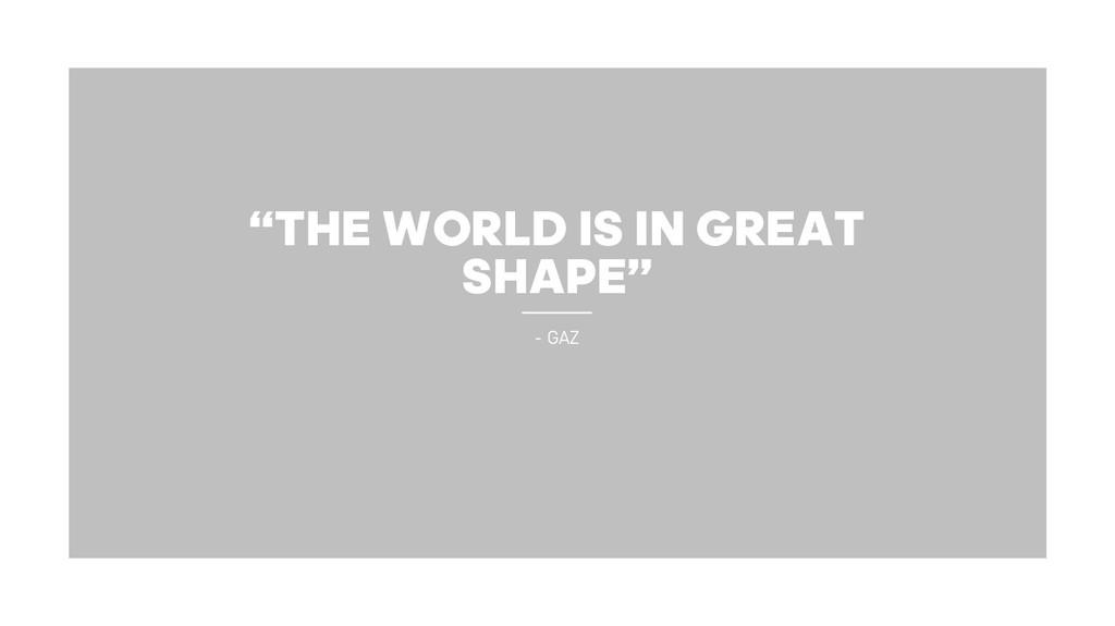 """THE WORLD IS IN GREAT SHAPE"" - GAZ"