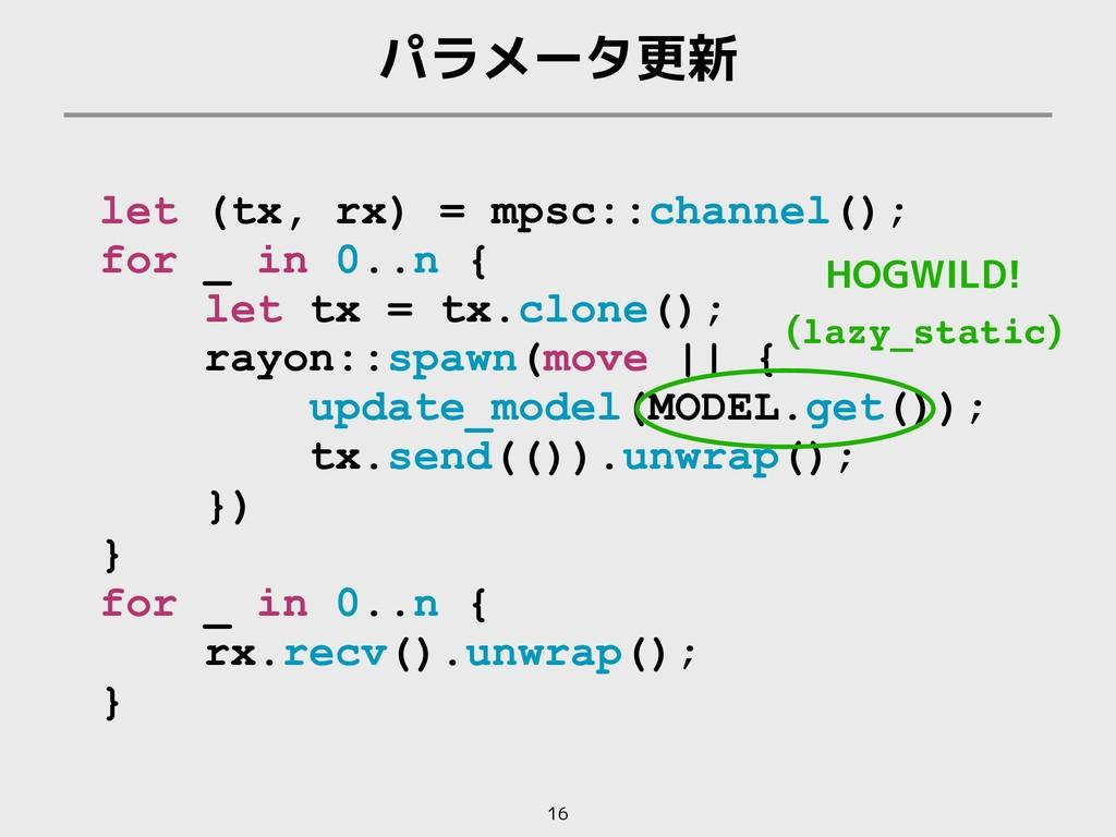 パラメータ更新 16 let (tx, rx) = mpsc::channel(); for ...