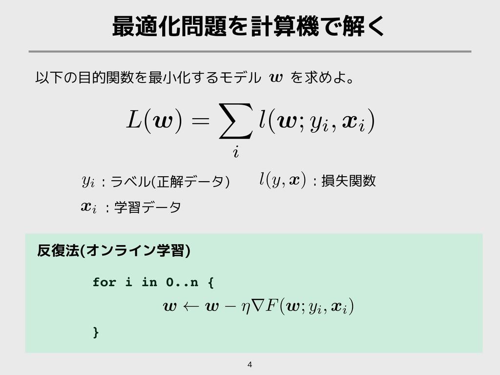 for i in 0..n { } 最適化問題を計算機で解く 4 以下の目的関数を最小化するモ...