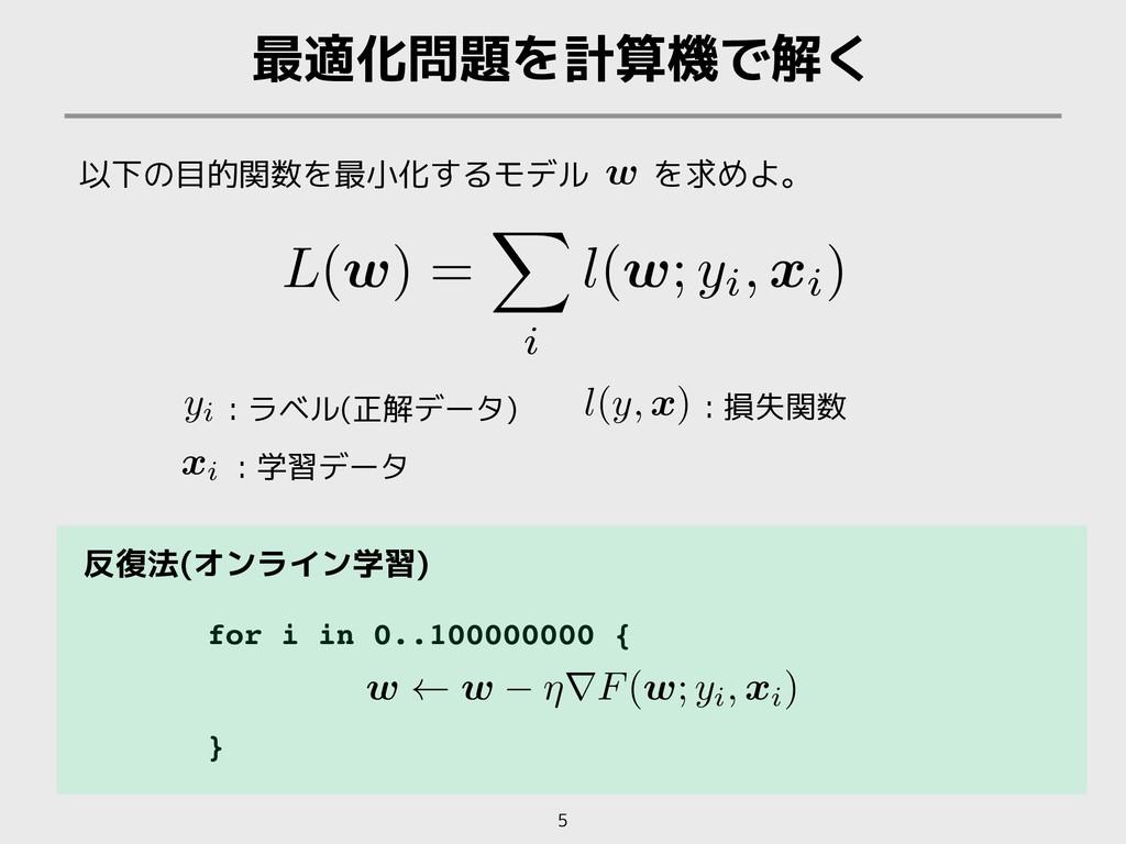 for i in 0..100000000 { } 最適化問題を計算機で解く 5 以下の目的関...