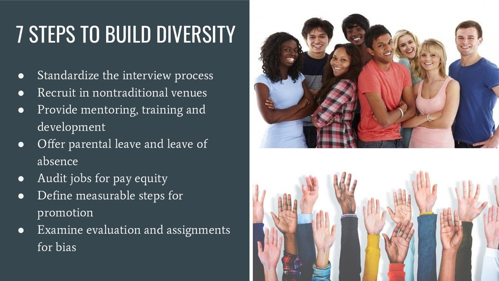 7 STEPS TO BUILD DIVERSITY ● Standardize the in...