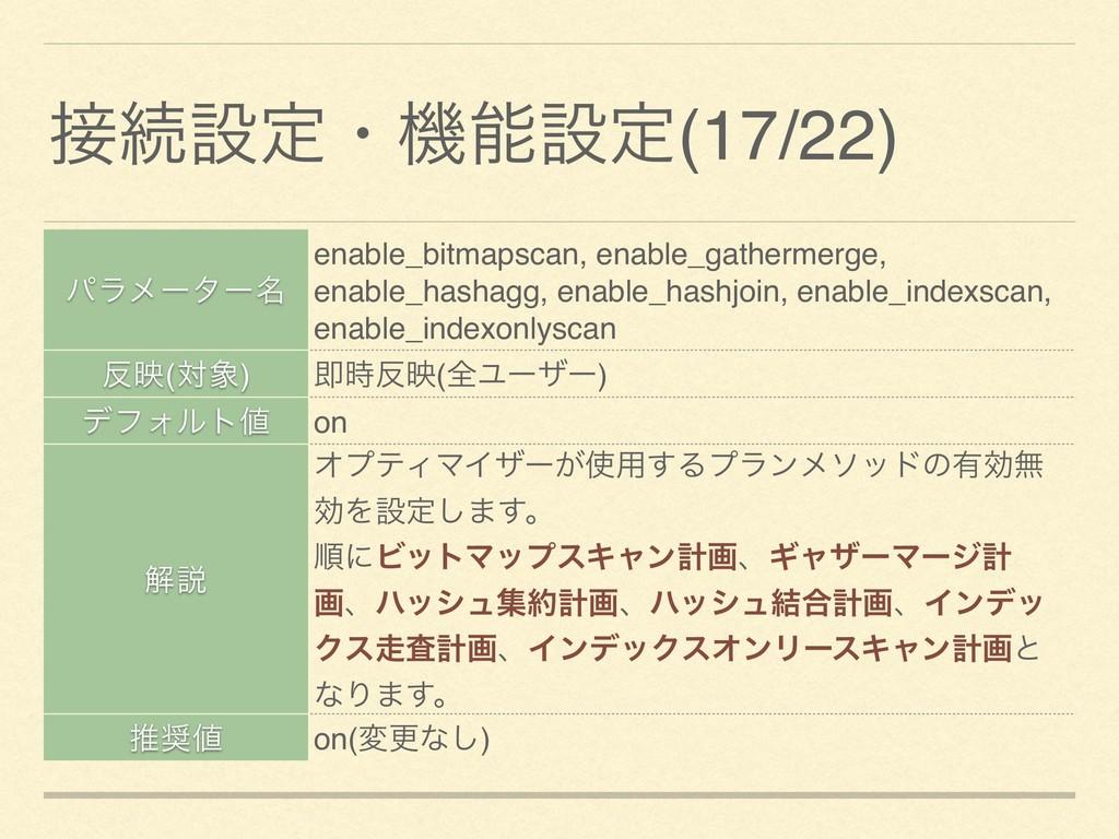 ଓઃఆɾػઃఆ(17/22) ύϥϝʔλʔ໊ enable_bitmapscan, ena...