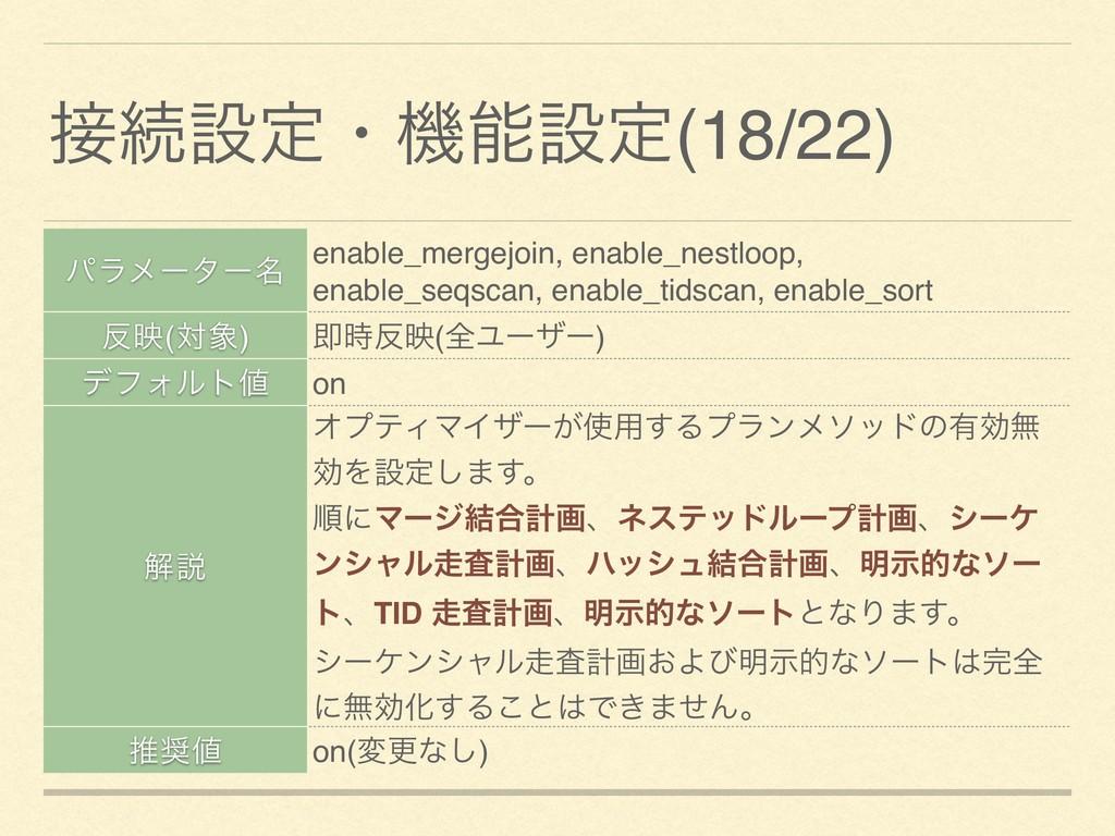 ଓઃఆɾػઃఆ(18/22) ύϥϝʔλʔ໊ enable_mergejoin, enab...