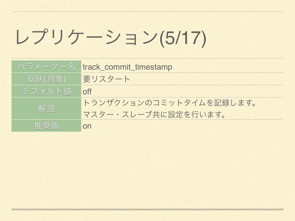 ύϥϝʔλʔ໊ track_commit_timestamp ө(ର) ཁϦελʔτ σϑ...