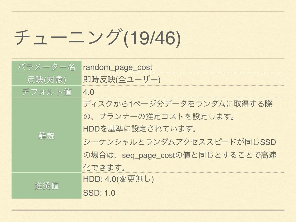 ύϥϝʔλʔ໊ random_page_cost ө(ର) ଈө(શϢʔβʔ) σϑΥ...
