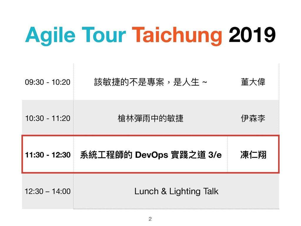 Agile Tour Taichung 2019 2 09:30 - 10:20 該敏捷的不是...