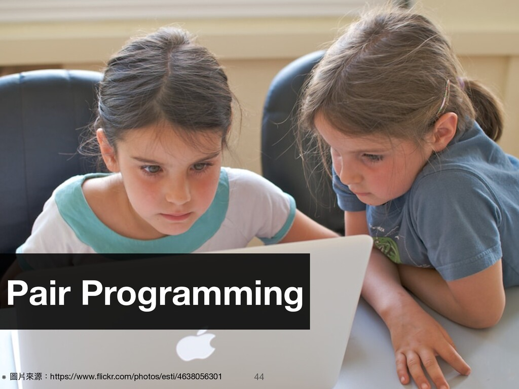 44 Pair Programming ※ 圖片來來源:https://www.flickr.c...