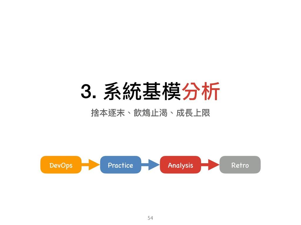 3. 系統基模分析 54 Analysis DevOps Practice Retro 捨本逐...