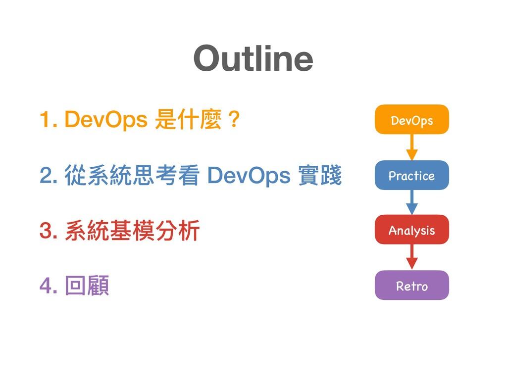 1. DevOps 是什什麼? 2. 從系統思考看 DevOps 實踐 3. 系統基模分析 4...