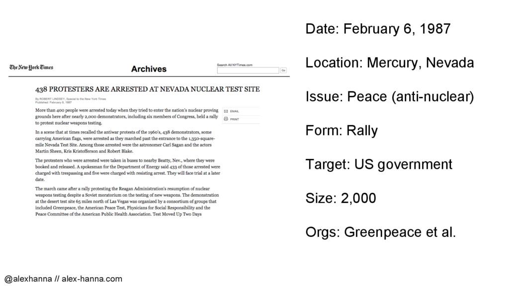 Date: February 6, 1987 Location: Mercury, Nevad...