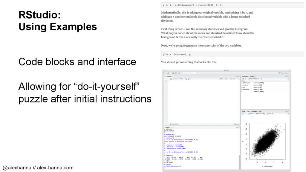RStudio: Using Examples Code blocks and interfa...