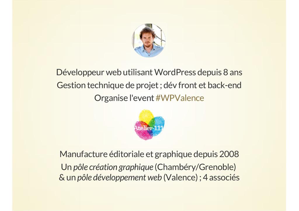 Développeur web utilisant WordPress depuis 8 an...