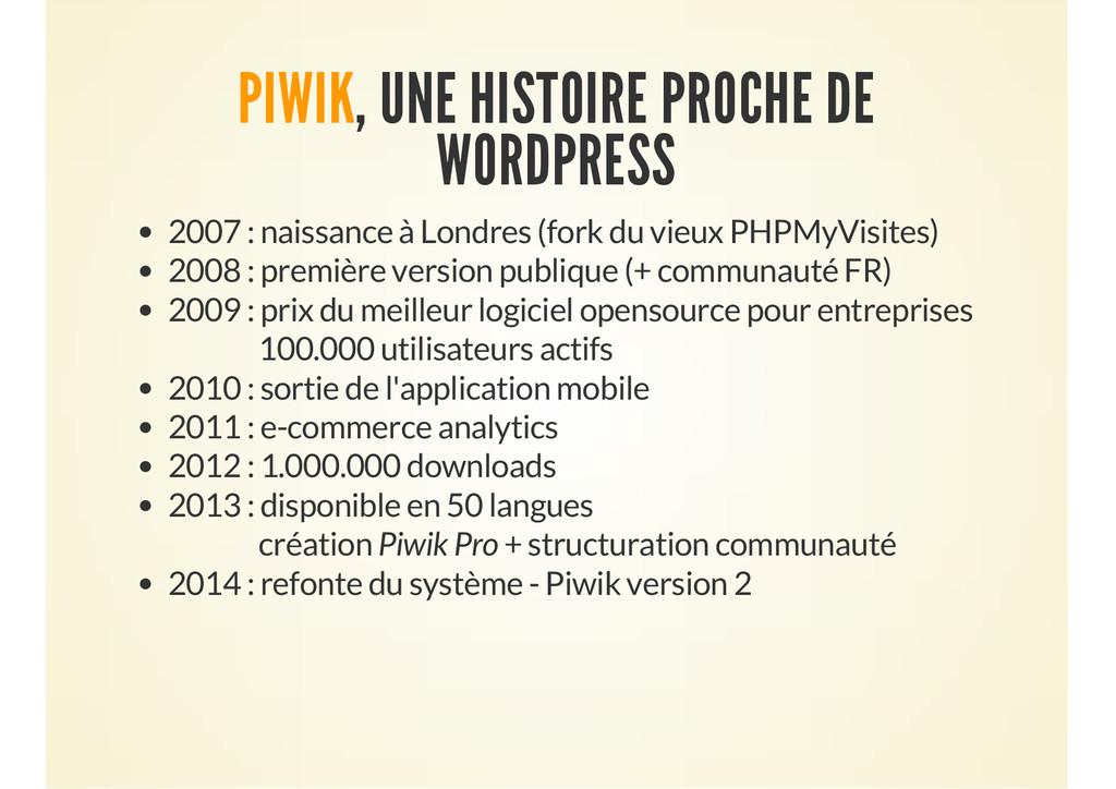 PIWIK, UNE HISTOIRE PROCHE DE WORDPRESS 2007 : ...