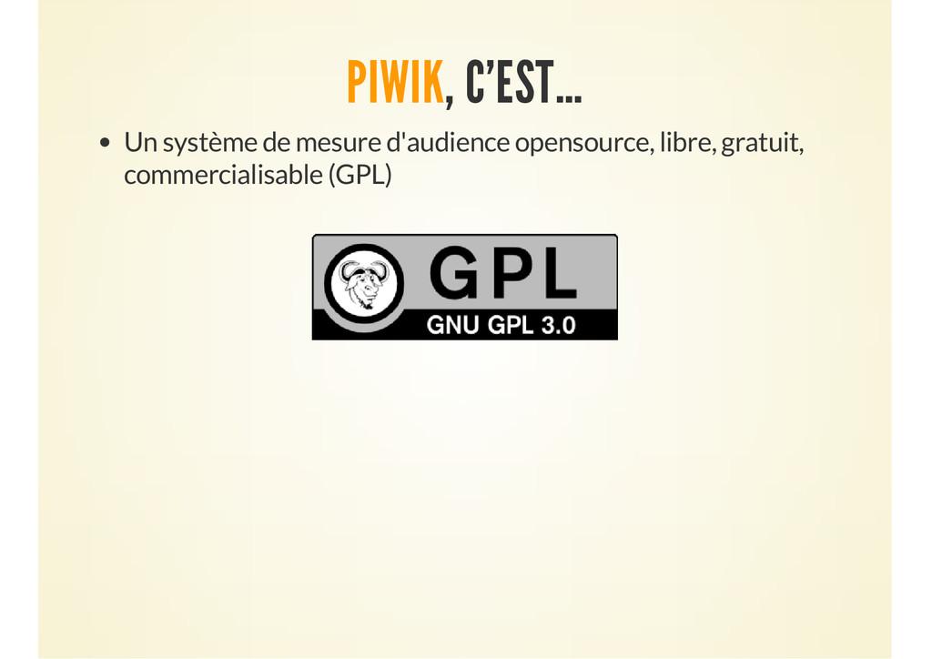 PIWIK, C'EST… Un système de mesure d'audience o...