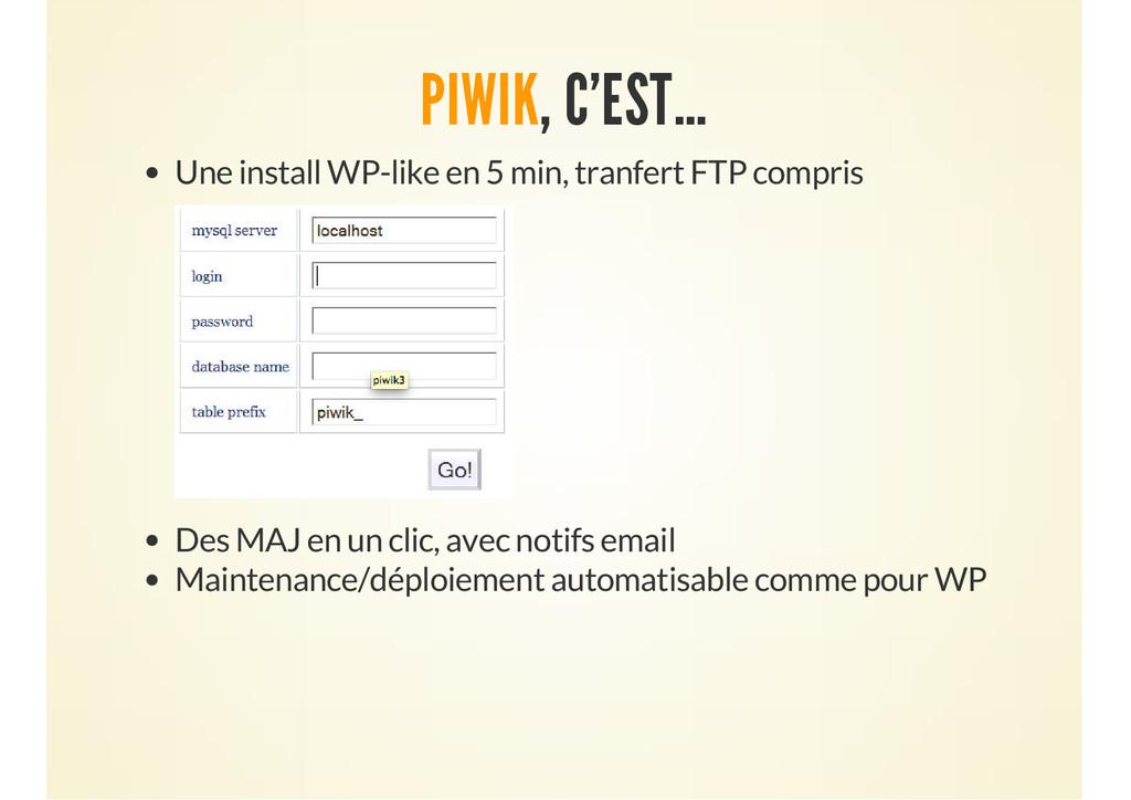 PIWIK, C'EST… Une install WP-like en 5 min, tra...