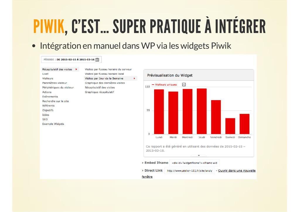 PIWIK, C'EST… SUPER PRATIQUE À INTÉGRER Intégra...