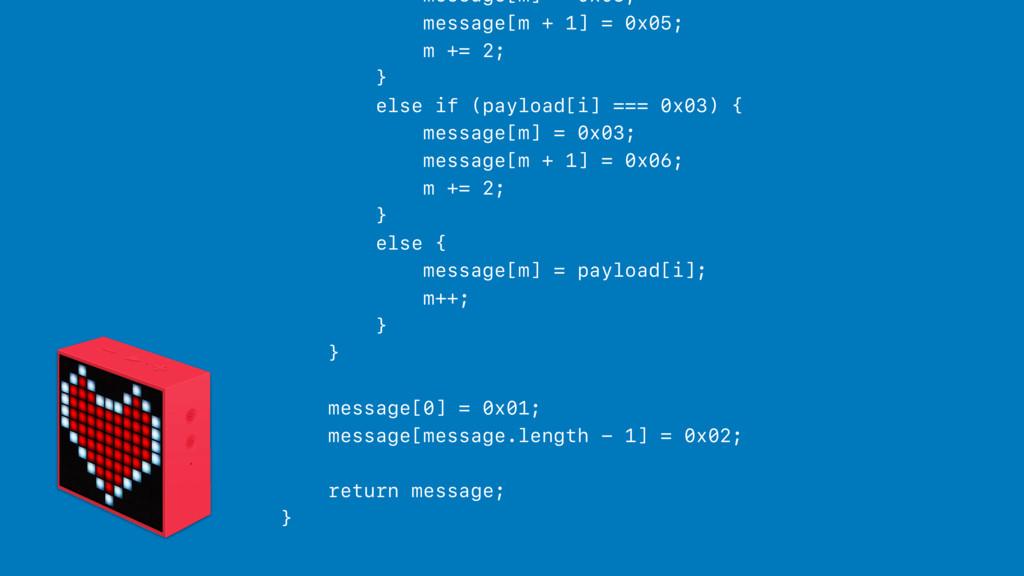 message[m] = 0x03; message[m + 1] = 0x05; m += ...