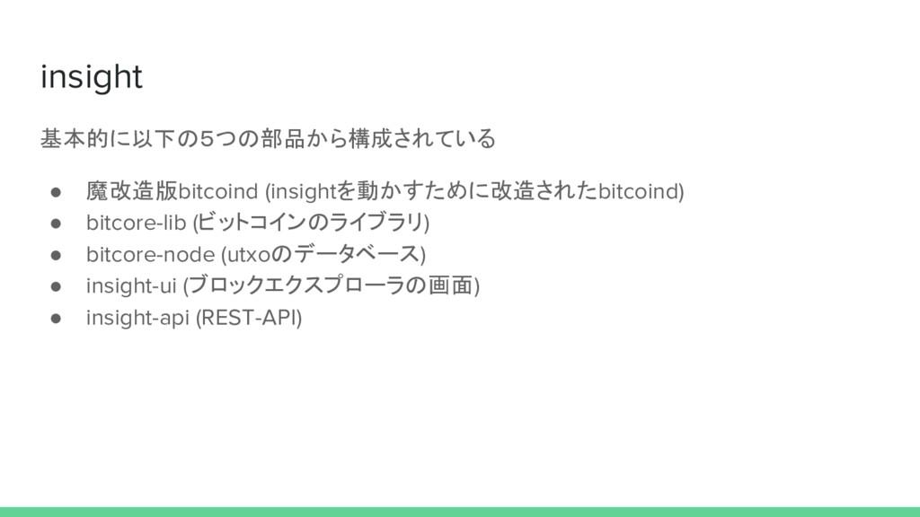 insight 基本的に以下の5つの部品から構成されている ● 魔改造版bitcoind (i...
