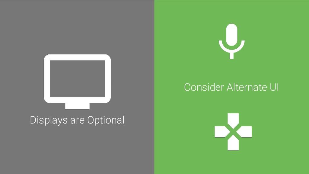 Consider Alternate UI Displays are Optional