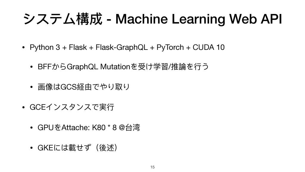 システム構成 - Machine Learning Web API • Python 3 + ...