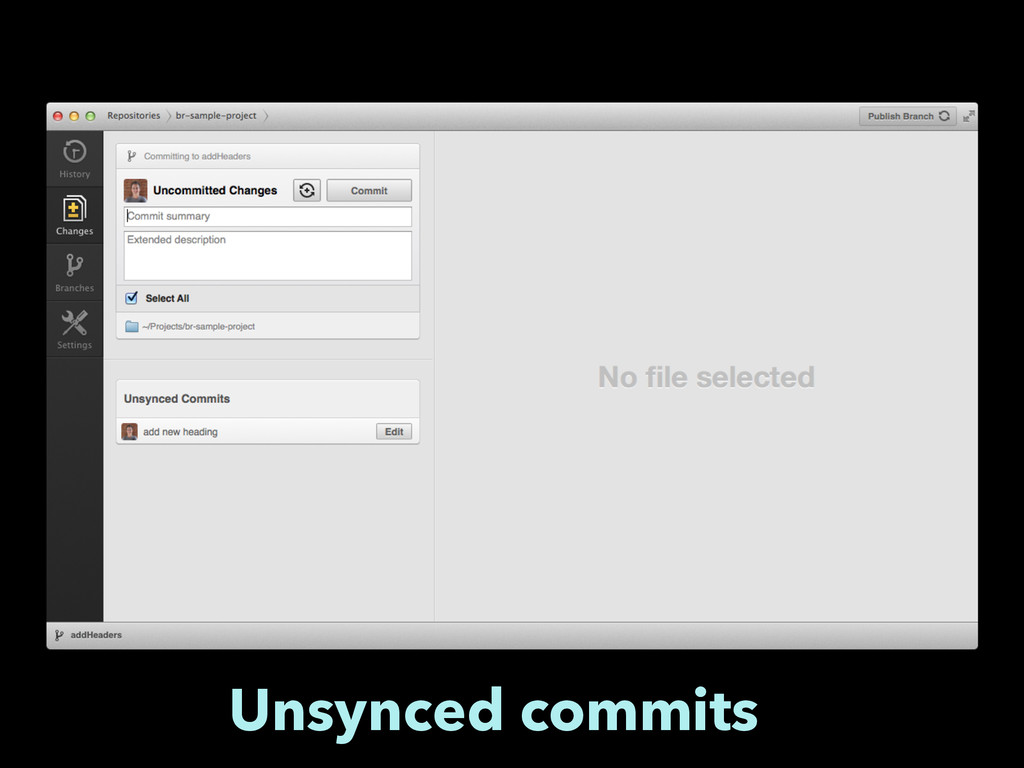 Unsynced commits