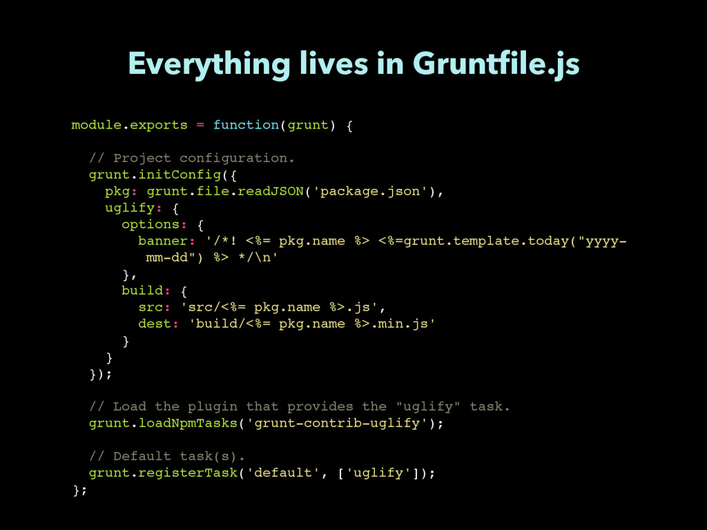 module.exports = function(grunt) {! ! // Projec...