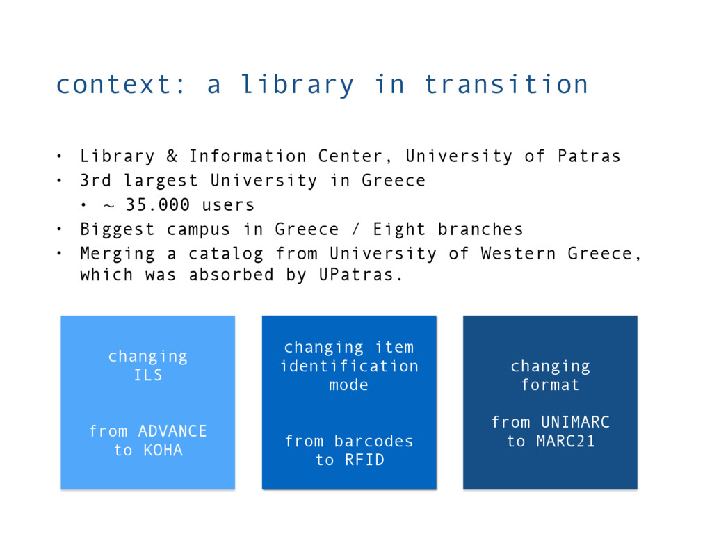 context: a library in transition changing ILS f...