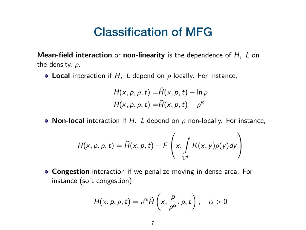 Classification of MFG Mean-field interaction or n...