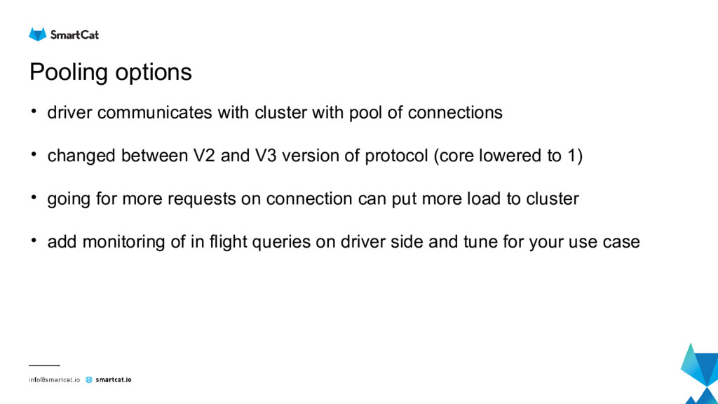 Pooling options • driver communicates with clus...