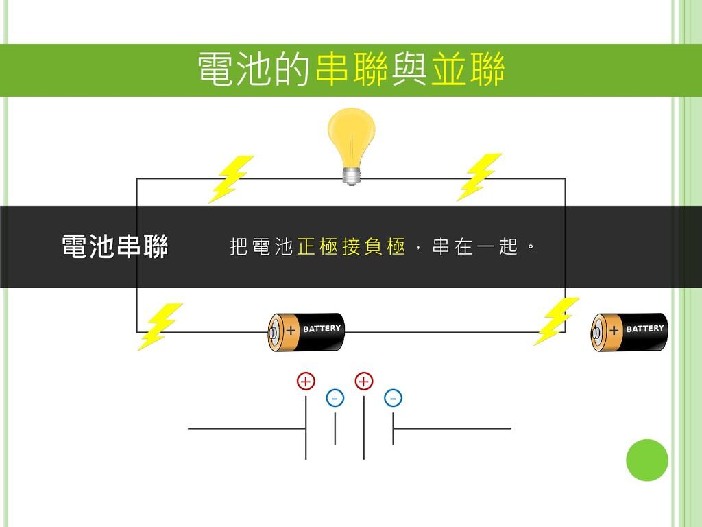 電池的串聯與並聯 + - + - 電池串聯 把電池 正極接負極,串在一起。