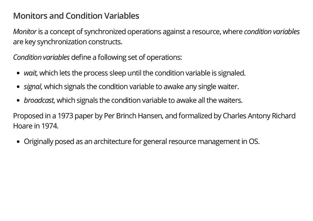 Monitors and Condition Variables Monitor is a c...