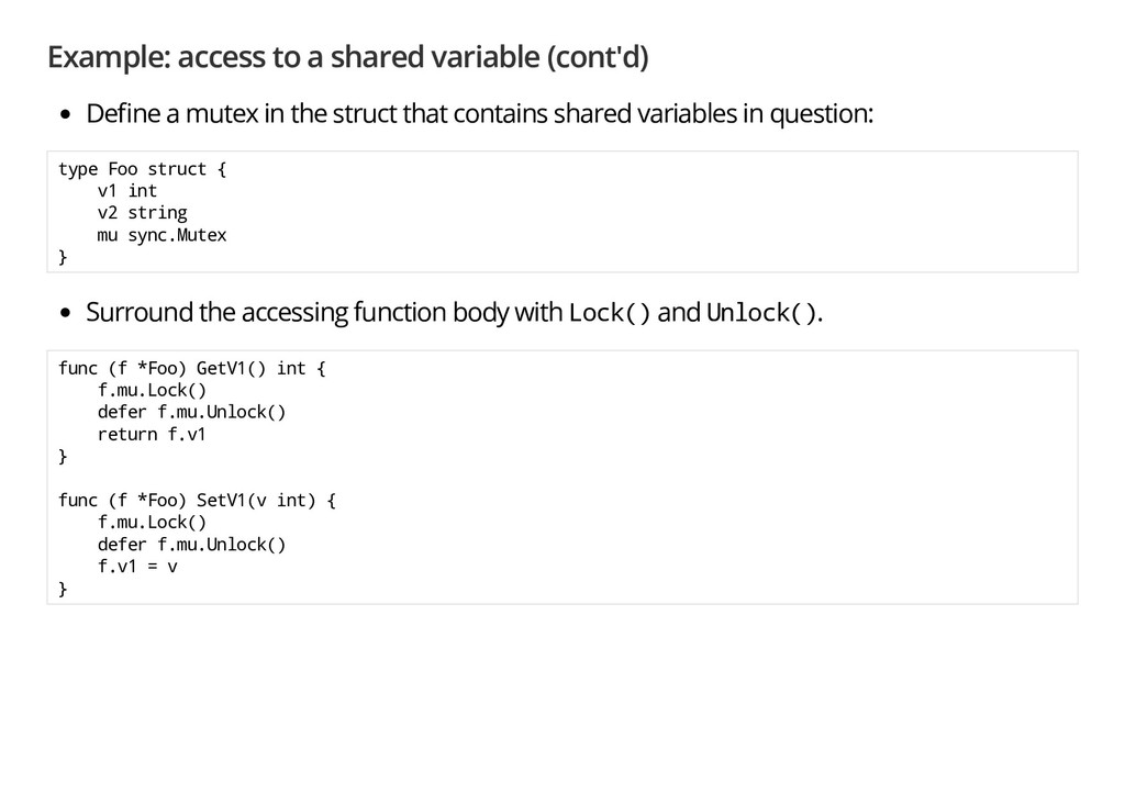 Example: access to a shared variable (cont'd) D...