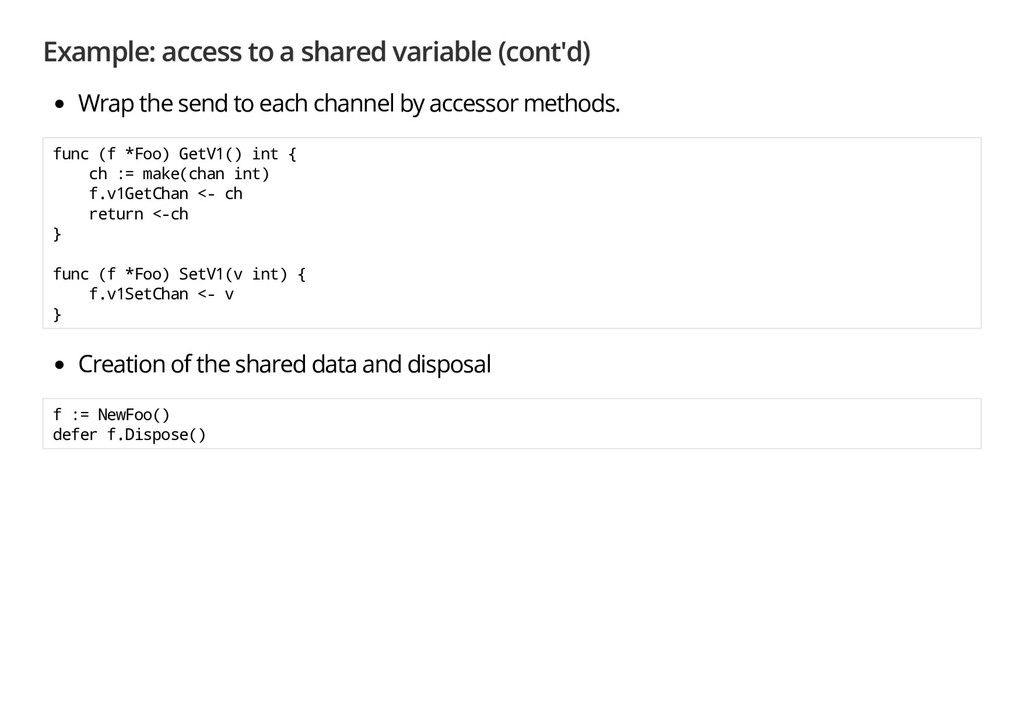 Example: access to a shared variable (cont'd) W...