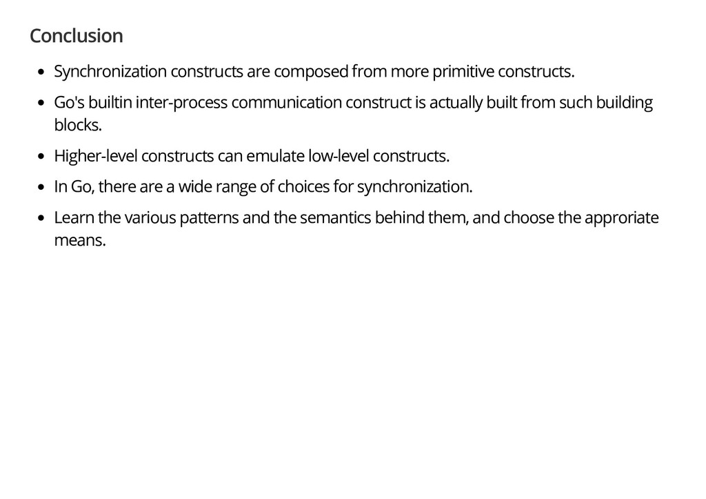 Conclusion Synchronization constructs are compo...
