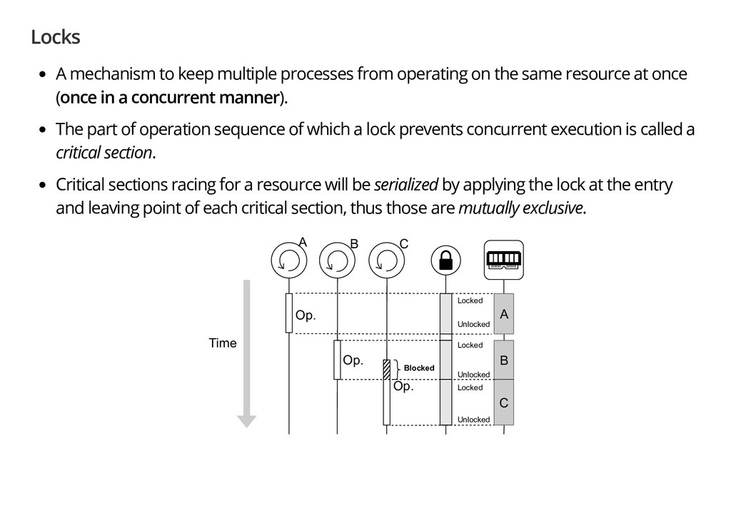 Locks A mechanism to keep multiple processes fr...