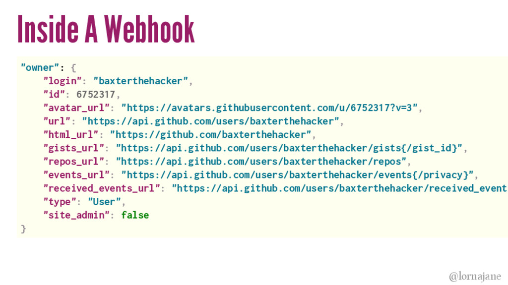 "Inside A Webhook ""owner"": { ""login"": ""baxterthe..."
