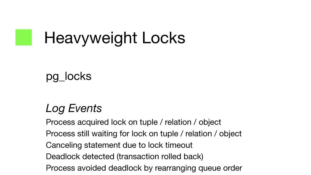 Heavyweight Locks pg_locks  Log Events Process ...