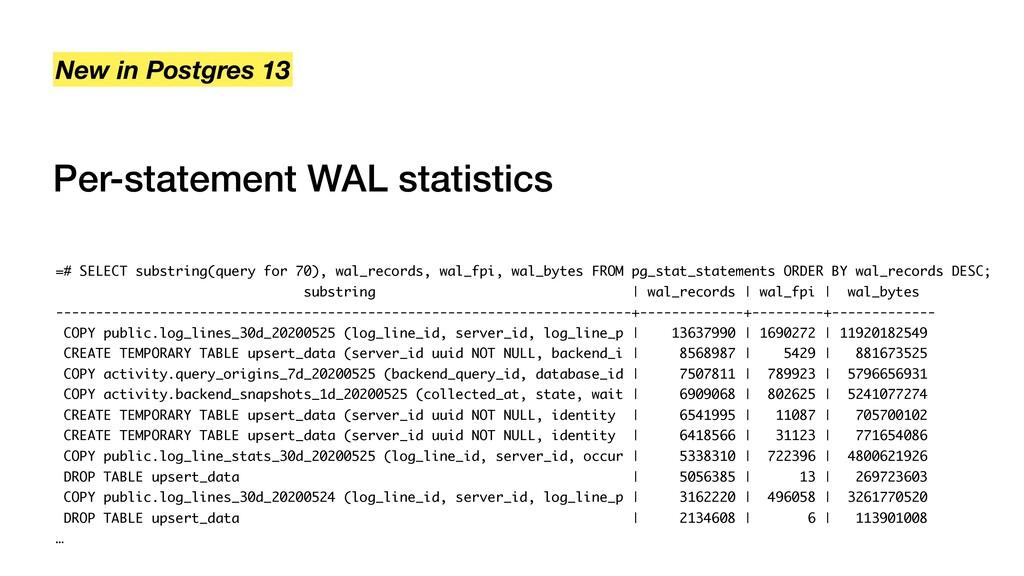 Per-statement WAL statistics New in Postgres 13...