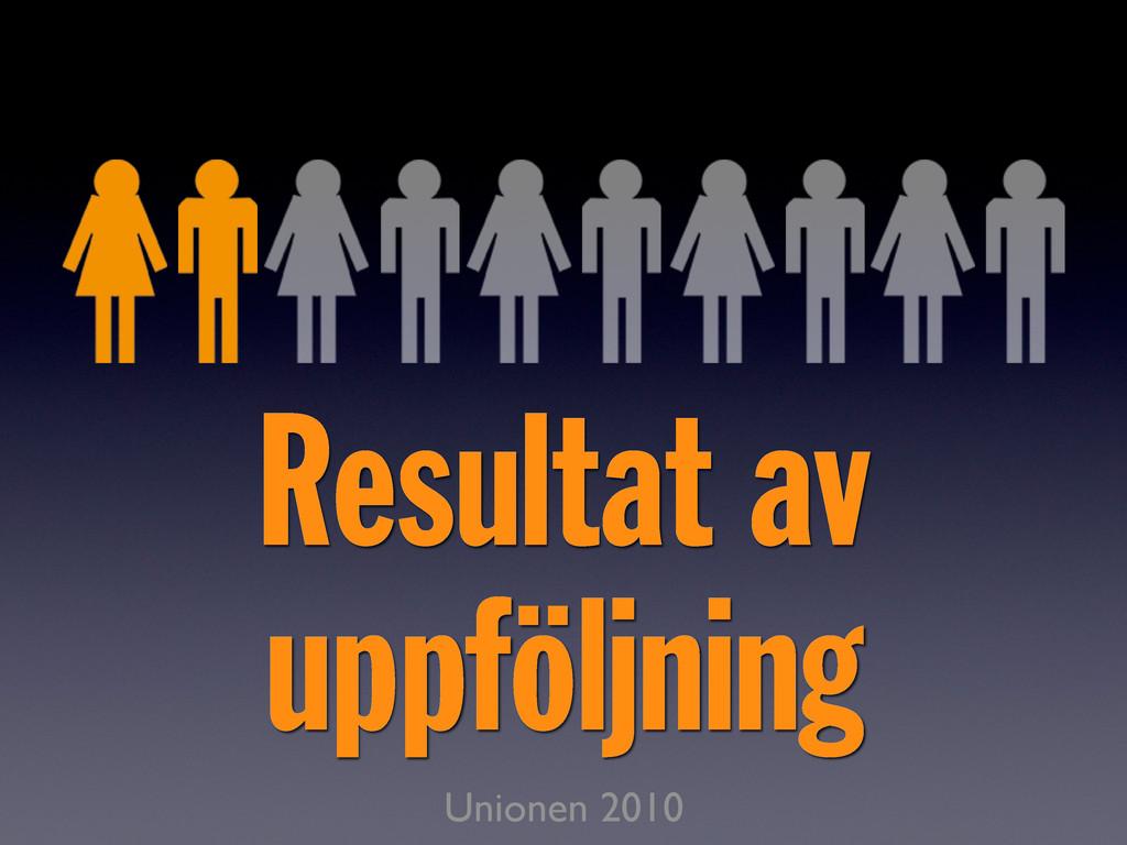 Resultat av uppföljning Unionen 2010