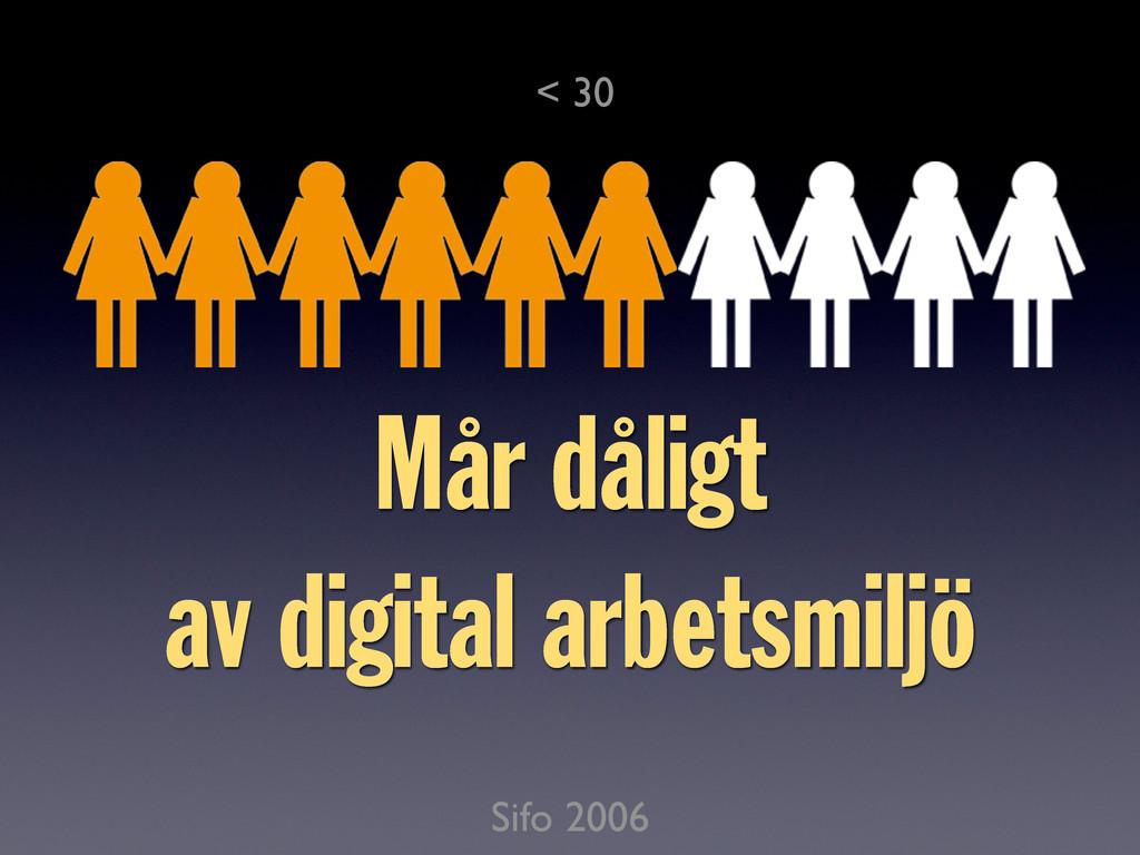 Sifo 2006 Mår dåligt av digital arbetsmiljö < 30