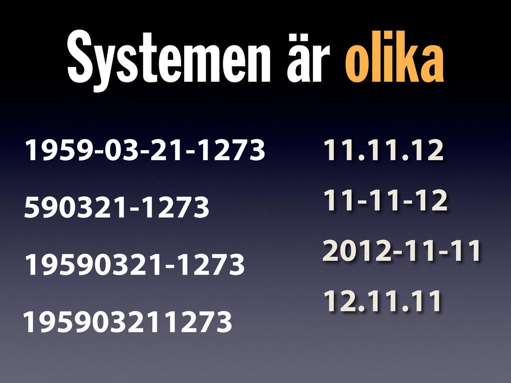 Systemen är olika 11.11.12 11-11-12 2012-11-11 ...