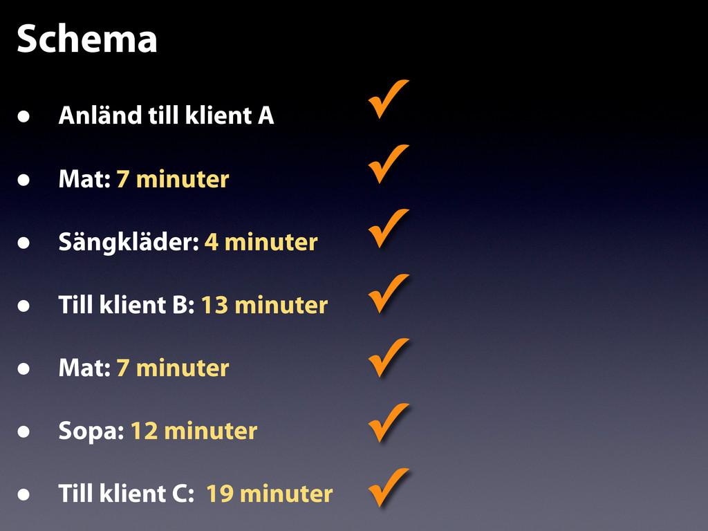 Schema • Anländ till klient A • Mat: 7 minuter ...