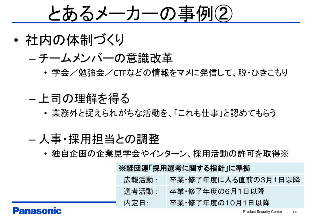 Product Security Center 14 とあるメーカーの事例② • 社内の体制づ...