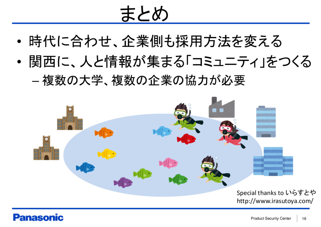 Product Security Center 16 まとめ • 時代に合わせ、企業側も採用方...