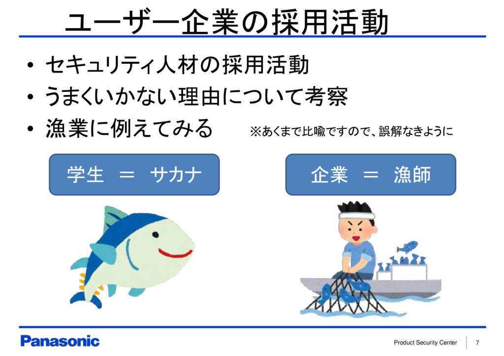 Product Security Center 7 ユーザー企業の採用活動 • セキュリティ人...