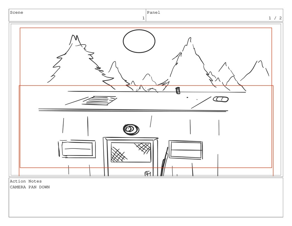 Scene 1 Panel 1 / 2 Action Notes CAMERA PAN DOWN