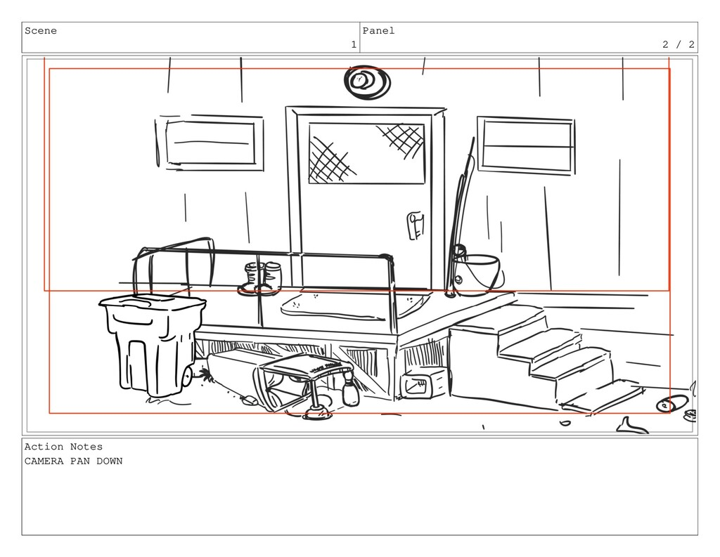 Scene 1 Panel 2 / 2 Action Notes CAMERA PAN DOWN
